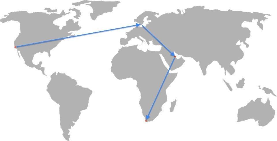 LA to Stockholm to Doha Map